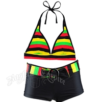 Rasta Halter & Boy Short Belt Bikini Swimsuit