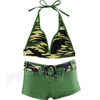 Camo Halter & Boy Short Belt Bikini Swimsuit