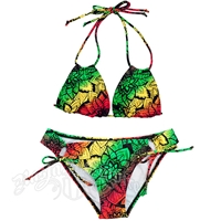 Rasta Flower Burst Loop Triangle Top and Loop Tie Botton Bikini Swimsuit