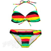 Rasta Tie Dye Stripe Keyhole Top and Rio Bottom Bikini Swimsuit