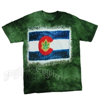 Colorado Flag with Weed Leaf Tie-Dye T-Shirt - Men's