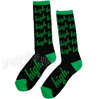 Green High Black Socks
