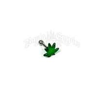Green Pot Leaf Tragus or Helix Barbell Body Jewelry