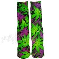 Green and Purple Marijuana Leaves Socks