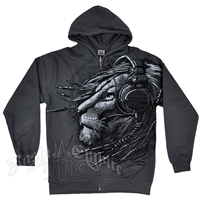 Lion Plugged In Charcoal Grey Zip Hoodie - Men's