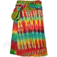 Green Tie Dye Short Wrap And Snap Skirt