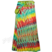 Green Tie Dye Long Wrap And Snap Skirt