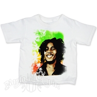 Bob Marley Palm Tree Smile White T-Shirt - Toddler