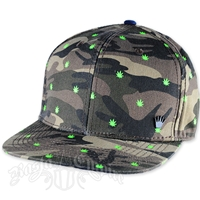 Camo And Cannabis Leaves Snapback Cap