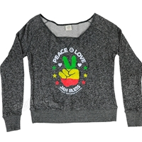 RastaEmpire Peace & Love Off-The-Shoulder Black Heather Sweater – Women's
