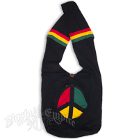 Rasta Cotton Wide Strap Shoulder Bag with Peace Pocket
