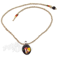 Rasta Mushroom Glass on Hemp Necklace