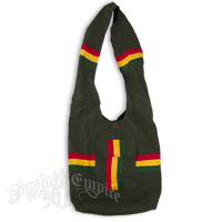 Rasta Cotton Wide Strap Shoulder Bag with Pocket