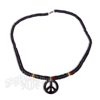 Peace Sign Necklace with Rasta Beads