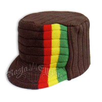 Knit Flat Top Cap with Rasta Stripe - Brown