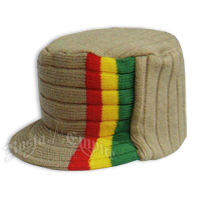 Knit Flat Top Cap with Rasta Stripe - Khaki/Tan