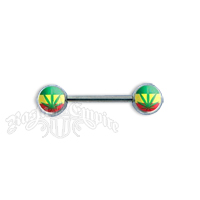 Rasta Leaf Logo Nipple Bar Body Jewelry