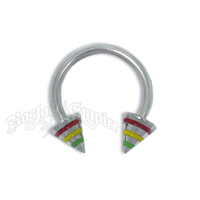 Rasta Steel Spiked Horseshoe Body Jewelry