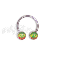 Rasta Leaf Nipple Horseshoe Body Jewelry