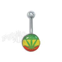 Rasta Leaf Logo Belly Ring Body Jewelry