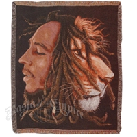 Bob Marley & Lion Profile Woven Throw Blanket