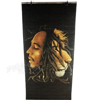 Bob Marley & Lion Profiles Bamboo Window Shade