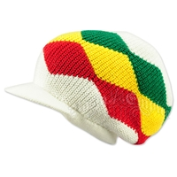 Rasta Waves Cotton Cap with Visor - White/Rasta