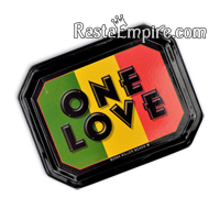 Stash Tin - Rasta One Love - Black with Rasta Stripes