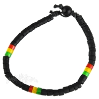Rasta, Coco, Heishi and Resin Beads Bracelet