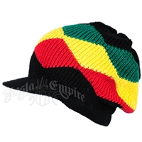 Rasta Waves Cotton Cap with Visor - Black/Rasta