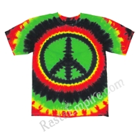 Rasta Peace Sign Tie Dyed Short Sleeve T-Shirt - Men's SS