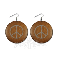 Wood Peace Sign Earrings - Light Brown - Disc Shape