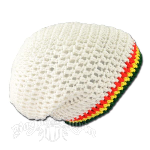 Rasta Handmade Crochet Baggy Slouch Beanie White