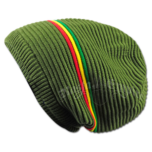 7c6f6a6ea Oversized Beanie Cap - Olive/Rasta Stripe