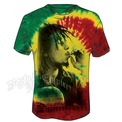 Bob Marley Rasta Smoke & Guitar Tie Dye T-Shirt - Men's