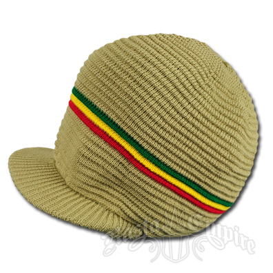 Rasta Ribbed Cotton Cap - Khaki/Rasta