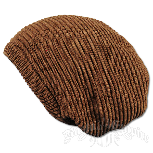 Solid Brown Oversized Beanie Cap