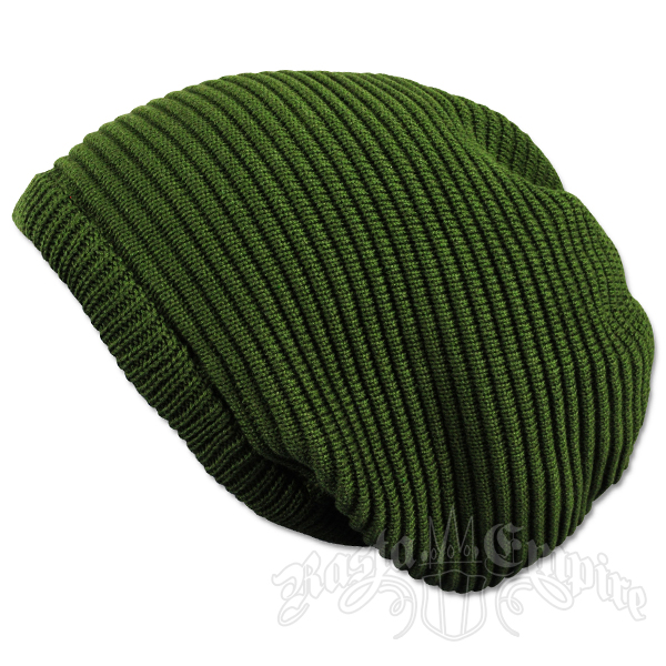Solid Olive Oversized Beanie Cap