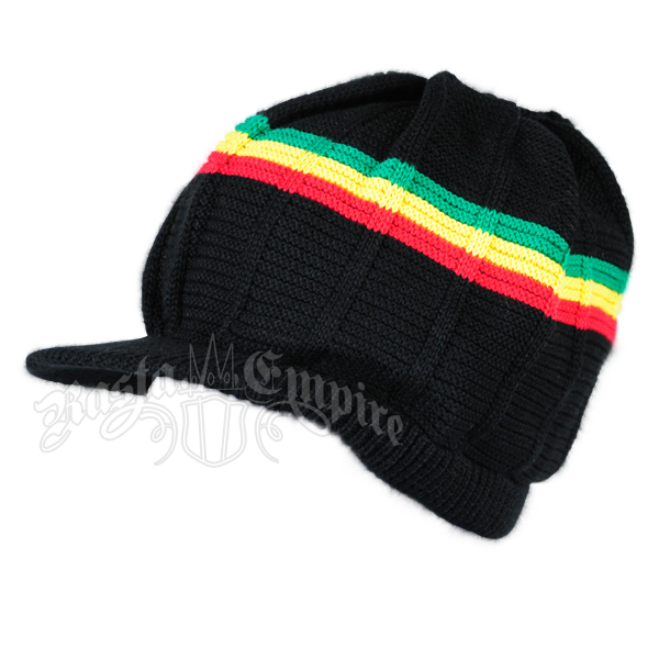 22c2bc3f38353 Rasta Cotton Ribbed Visor Cap - Black Rasta Stripes