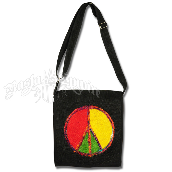 Rasta Recycled Silk Peace Emblem Hemp Bag