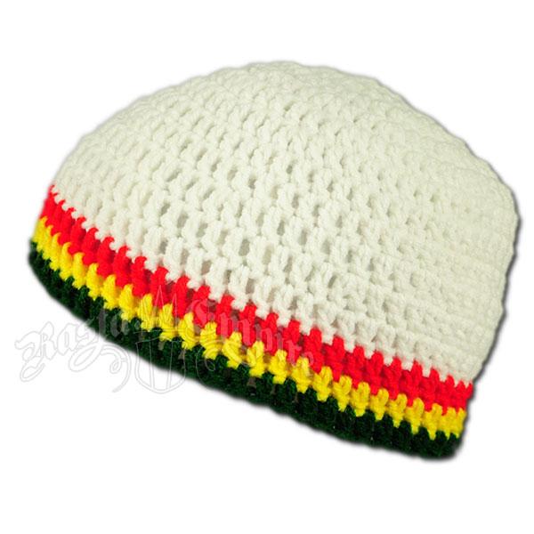 Rasta Crochet Beanie Hat Bright White At Rastaempirecom