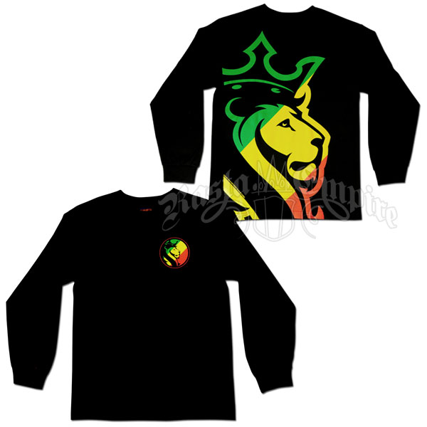 Rasta Striped Lion Black Long Sleeve T-Shirt - Men's @ RastaEmpire.com