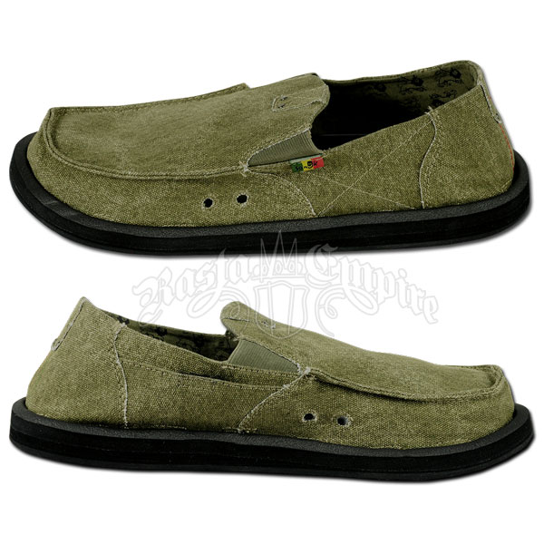 sanuk kingston green canvas shoes rastaempire