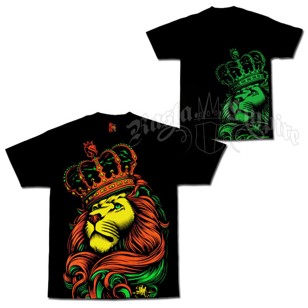Rasta Lion and Crown Black T-Shirt - Men's