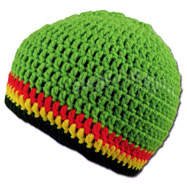 Rasta Crochet Beanie Hat - Bright Green   Rastaempire.com 3d20c659336