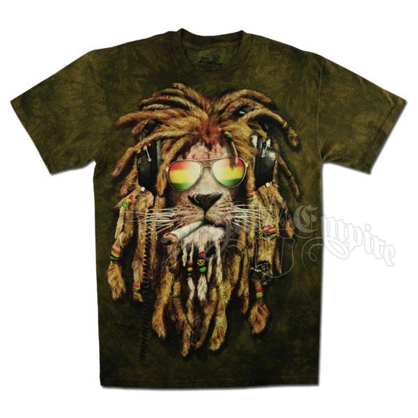 Rasta Smokin Lion Olive Green Tie Dye T Shirt Men S