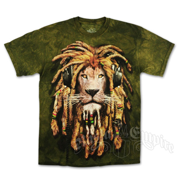 Rasta Lion With Dreads Rasta dj lion olive green tie