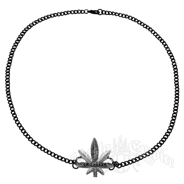 "Black and Silver ""Legalize"" Marijuana Leaf Charm Necklace"