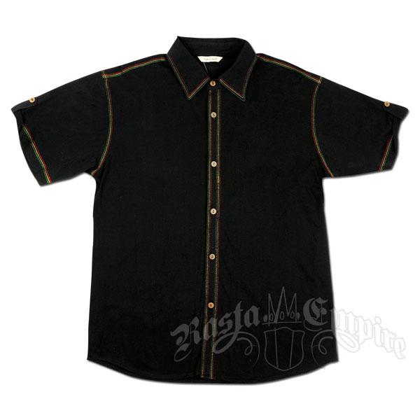 Rasta stitch button down black shirt men 39 s for Mens black button down shirt