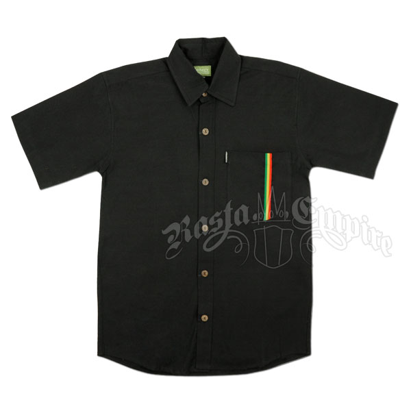 Rastafari Button Down Black Shirt - Men's @ Rastaempire.com